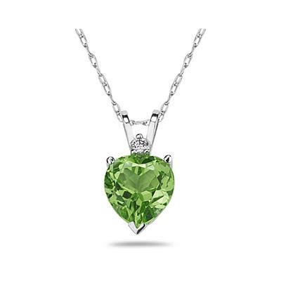 8mm Heart Peridot and Diamond Stud Pendant in 14K White Gold