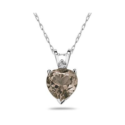 9mm Heart Smokey Quartz and Diamond Stud Pendant in 14K White Gold