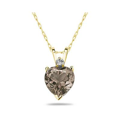 8mm Heart Smokey Quartz and Diamond Stud Pendant in 14K Yellow Gold