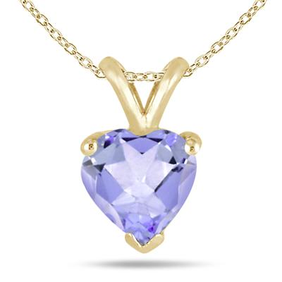 All-Natural Genuine 5 mm, Heart Shape Tanzanite pendant set in 14k Yellow gold