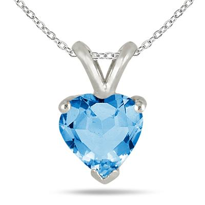 6MM All Natural Heart Blue Topaz Stud Pendant in .925 Sterling Silver