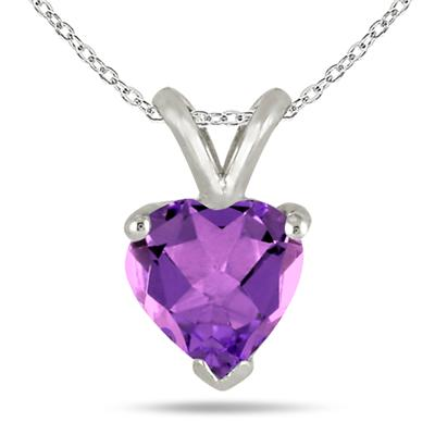 All-Natural Genuine 7 mm, Heart Shape Amethyst pendant set in 14k White Gold