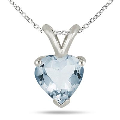 All-Natural Genuine 7 mm, Heart Shape Aquamarine pendant set in 14k White Gold
