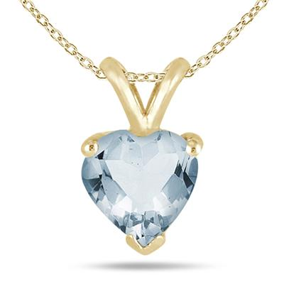 All-Natural Genuine 7 mm, Heart Shape Aquamarine pendant set in 14k Yellow gold