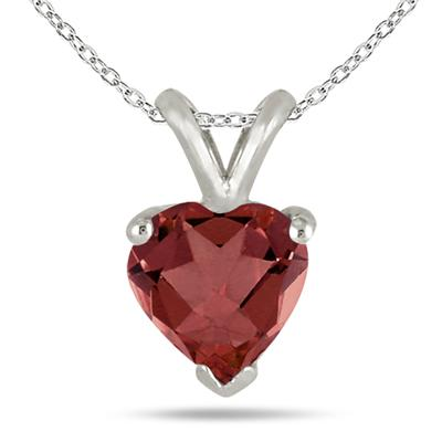 All-Natural Genuine 7 mm, Heart Shape Garnet pendant set in 14k White Gold
