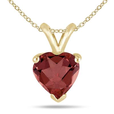 All-Natural Genuine 7 mm, Heart Shape Garnet pendant set in 14k Yellow gold