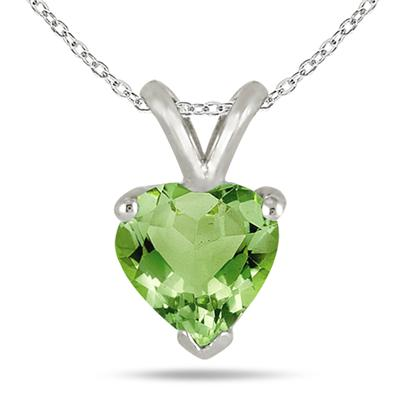 All-Natural Genuine 7 mm, Heart Shape Peridot pendant set in 14k White Gold
