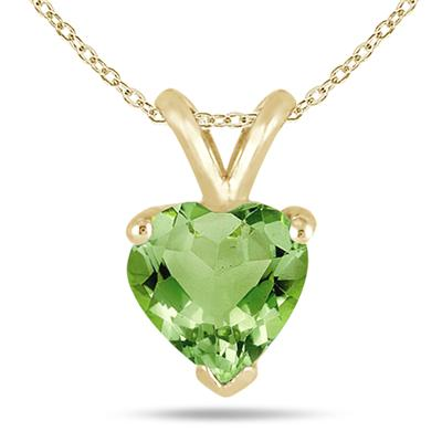 All-Natural Genuine 7 mm, Heart Shape Peridot pendant set in 14k Yellow gold