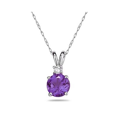 7mm Round Amethyst and Diamond Stud Pendant in 14K White Gold