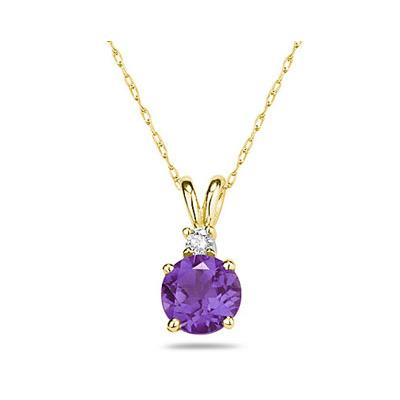 7mm Round Amethyst and Diamond Stud Pendant in 14K Yellow Gold