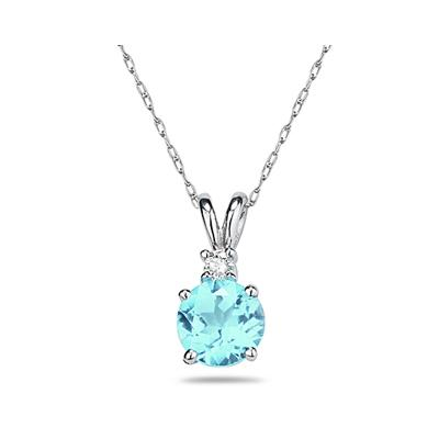 8mm Round Aquamarine and Diamond Stud Pendant in 14K White Gold