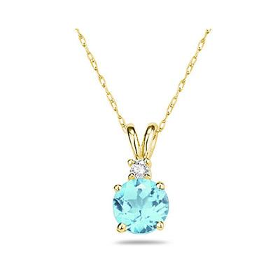 5mm Round Aquamarine and Diamond Stud Pendant in 14K Yellow Gold
