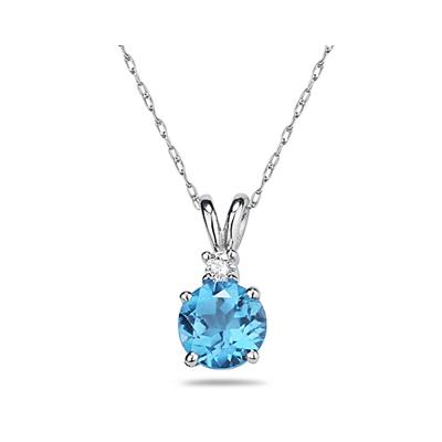 5mm Round Blue Topaz and Diamond Stud Pendant in 14K White Gold