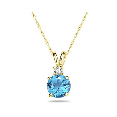 5mm Round Blue Topaz and Diamond Stud Pendant in 14K Yellow Gold