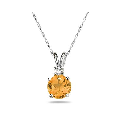 7mm Round Citrine and Diamond Stud Pendant in 14K White Gold