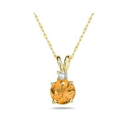 5mm Round Citrine and Diamond Stud Pendant in 14K Yellow Gold