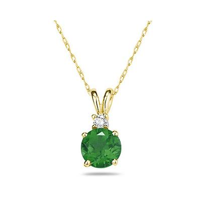5mm Round Emerald and Diamond Stud Pendant in 14K Yellow Gold