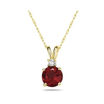 8mm Round Garnet and Diamond Stud Pendant in 14K Yellow Gold