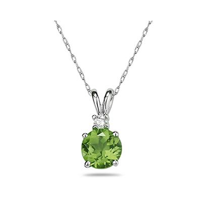 7mm Round Peridot and Diamond Stud Pendant in 14K White Gold