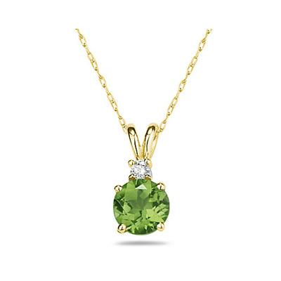 8mm Round Peridot and Diamond Stud Pendant in 14K Yellow Gold