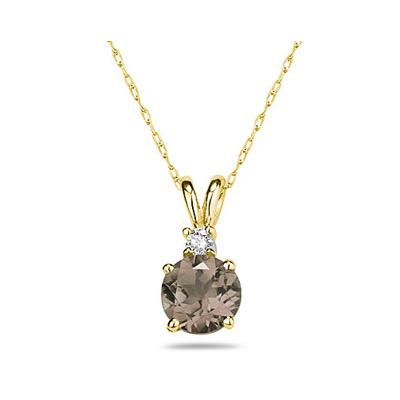 8mm Round Smokey Quartz and Diamond Stud Pendant in 14K Yellow Gold