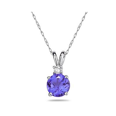 5mm Round Tanzanite and Diamond Stud Pendant in 14K White Gold