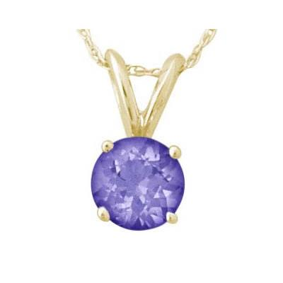 All-Natural Genuine 6 mm, Round Tanzanite pendant set in 14k Yellow gold