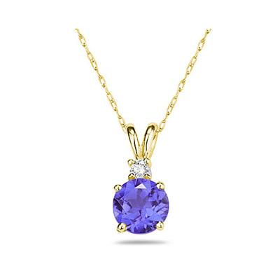 5mm Round Tanzanite and Diamond Stud Pendant in 14K Yellow Gold