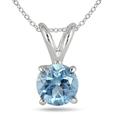 All-Natural Genuine 4 mm, Round Aquamarine pendant set in 14k White Gold