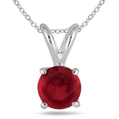 All-Natural Genuine 4 mm, Round Ruby pendant set in 14k White Gold