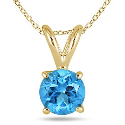 All-Natural Genuine 5 mm, Round Blue Topaz pendant set in 14k Yellow gold