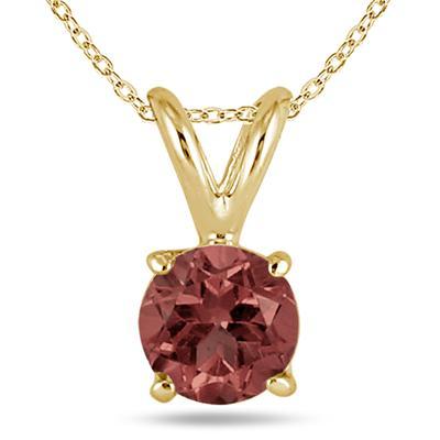 All-Natural Genuine 5 mm, Round Garnet pendant set in 14k Yellow gold