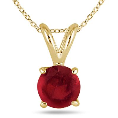 All-Natural Genuine 5 mm, Round Ruby pendant set in 14k Yellow gold