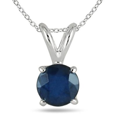 All-Natural Genuine 5 mm, Round Sapphire pendant set in 14k White Gold