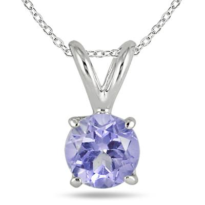 All-Natural Genuine 5 mm, Round Tanzanite pendant set in 14k White Gold