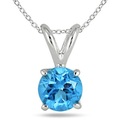 All-Natural Genuine 6 mm, Round Blue Topaz pendant set in 14k White Gold