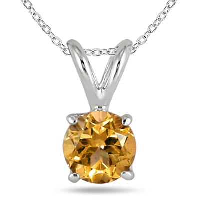 All-Natural Genuine 6 mm, Round Citrine pendant set in 14k White Gold