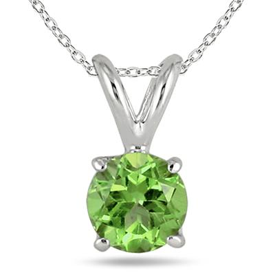 All-Natural Genuine 7 mm, Round Peridot pendant set in 14k White Gold