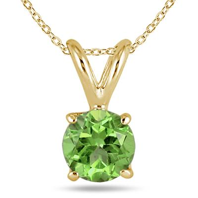 All-Natural Genuine 7 mm, Round Peridot pendant set in 14k Yellow gold