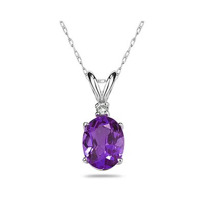 6X4mm Oval Amethyst and Diamond Stud Pendant in 14K White Gold