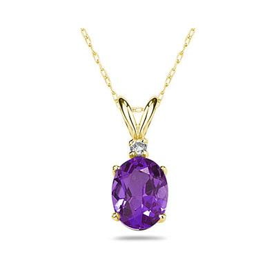 6X4mm Oval Amethyst and Diamond Stud Pendant in 14K Yellow Gold