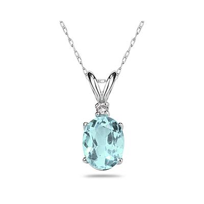 9X7mm Oval Aquamarine and Diamond Stud Pendant in 14K White Gold