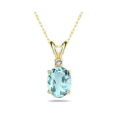 6X4mm Oval Aquamarine and Diamond Stud Pendant in 14K Yellow Gold