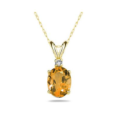 7X5mm Oval Citrine and Diamond Stud Pendant in 14K Yellow Gold