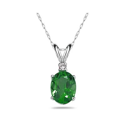 7X5mm Oval Emerald and Diamond Stud Pendant in 14K White Gold