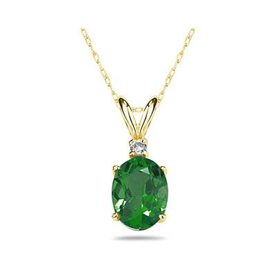 6X4mm Oval Emerald and Diamond Stud Pendant in 14K Yellow Gold