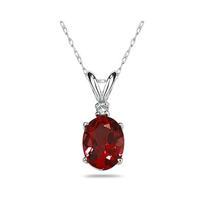 9X7mm Oval Garnet and Diamond Stud Pendant in 14K White Gold