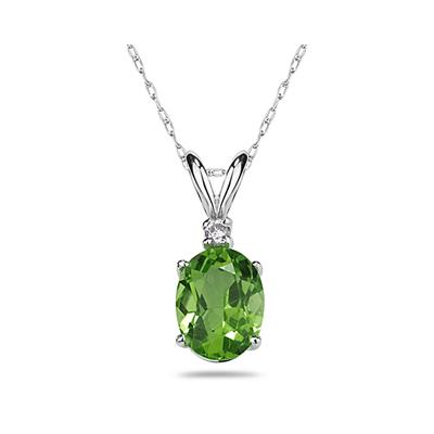 9X7mm Oval Peridot and Diamond Stud Pendant in 14K White Gold