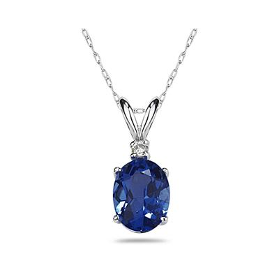 8X6mm Oval Sapphire and Diamond Stud Pendant in 14K White Gold