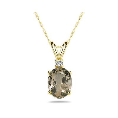 11X9mm Oval Smokey Quartz and Diamond Stud Pendant in 14K Yellow Gold